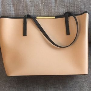 Camel and black Ted Baker leather tote